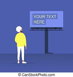 屋外, 若い, 広告, マレ, 建設, 見る, 大きい, 特徴, indian, 広告板