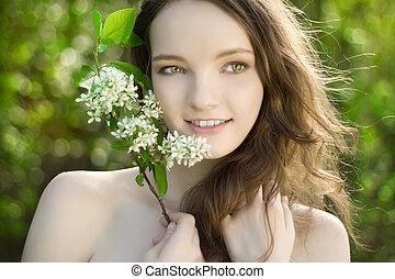 屋外, 若い, 花, 微笑, 肖像画, 女の子