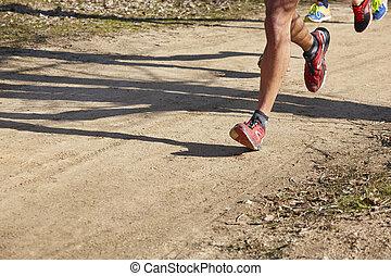 屋外, 運動, ランナー, detail., 回路, シニア, 足
