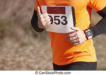屋外, 運動, 国, 交差点, race., ランナー, 回路, マレ