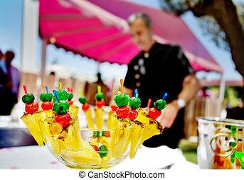 屋外, 食物, cocktail., ケータリング, celebrations.fruit, でき事