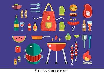 屋外, elements., デザイン, ロゴ, バーベキュー, パーティー, symbols., グリル, アイコン, 屋外, set., 台所, 考え, バーガー, 黒, bbq, 株, 食物アイコン, 食物, キー, 食べなさい, 肉, ベクトル