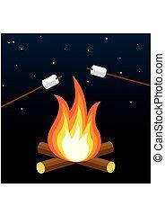 屋外, grill., marshmallow., キャンプ, キャンプファイヤー, たき火, night.