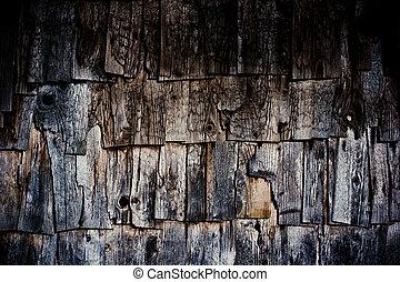 屋根板, 木, 古い, 外気に当って変化した, 手ざわり