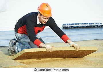 屋根職人, 材料, 労働者, インストール, 屋根, 断熱材