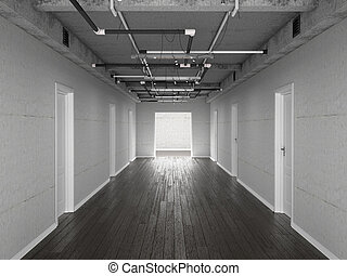 屋根裏, イラスト, コンクリート, 廊下, ドア, style., 3d