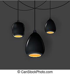 屋根裏, オフィス, mockup, lights., 現実的, ランプ, ベクトル, 流行, illustration.