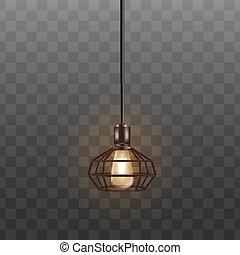 屋根裏, 装飾, 現実的, ランプ, 黒, 白熱, インテリア・デザイン, lightbulb