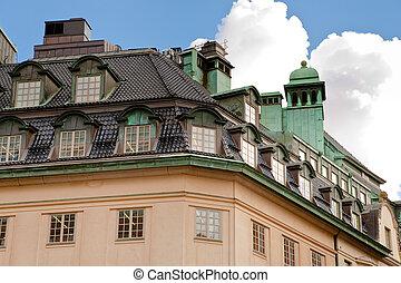 屋根, の, 古い, 家, 中に, ストックホルム