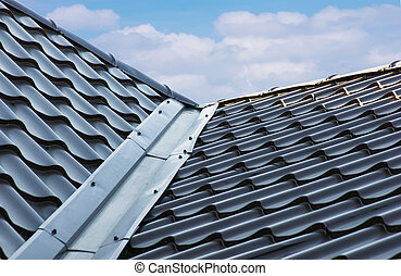 屋根 タイル, 青, 金属