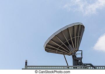 屋根, 人工衛星, 大きい, 皿