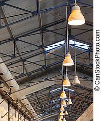 屋根, 倉庫, lights., 現代, 大きい