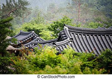 屋根, 家, 南, 伝統的である, 韓国