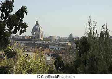 屋根, 景色, ローマ, 光景