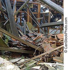 屋根, 石, 木, 提示, 瓦礫, 倒れられる, ガラス