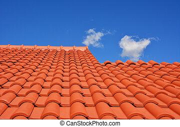 屋根, 赤, タイル, 手ざわり