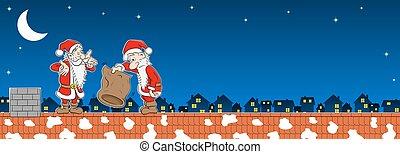 屋根, claus, 2, 袋, santa, 空
