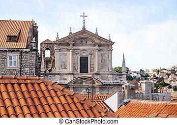 屋根, dubrovnik, 上に, croatia, 教会, st. 。, stepan, 光景