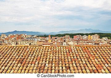 屋根, girona, タイルを張った, カタロニア
