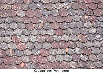 屋根, rooftiles, 古い, 奇妙である
