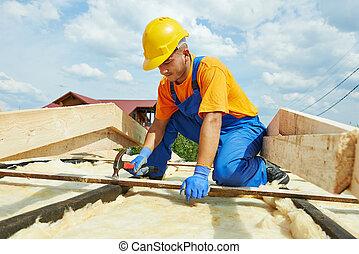屋面工, 木匠, 工作, 上, 屋頂