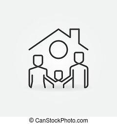 屋頂, 家庭, 房子, 在下面, 圖象, 矢量, 線, 愉快, 概念