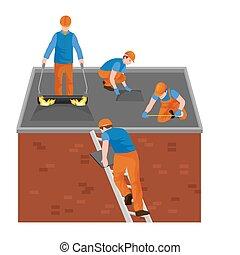 屋頂, 建設工人, 修理, 家, 建造, 結构, 固定, 屋頂, 瓦片, 房子, 由于, 勞動, 設備, 屋面工, 人,...