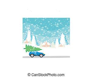 屋頂, 汽車, 圣誕樹