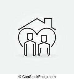 屋頂, 線, 人, 房子, 婦女, 矢量, 圖象, 在下面