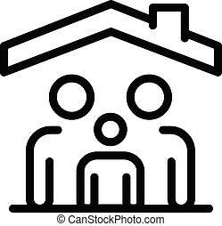 屋頂, 風格, outline, 在下面, 家庭, 圖象