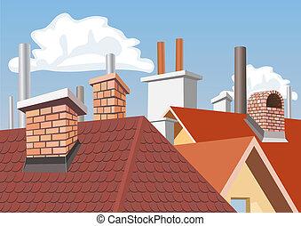 屋顶, 烟囱, 房子