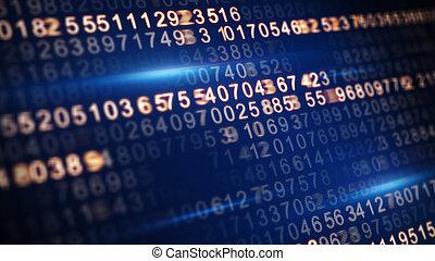 屏幕, 代碼, 集中, 選擇性, 數字