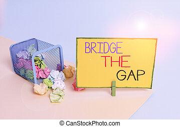 屑, 障害, 大箱, showcasing, 写真, ペーパー, 勇気, 執筆, オフィス, メモ, supplies., ビジネス, gap., しわくちゃになった, clothespin, 提示, 橋, 挑戦, メモ, 勝ちなさい, empowerment