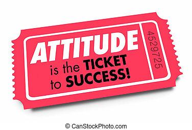 展望, よい, 成功, ポジティブ, イラスト, 態度, 切符, 3d