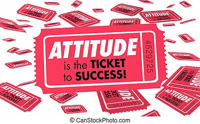 展望, よい, 成功, ポジティブ, イラスト, 態度, 野心, 切符, 3d