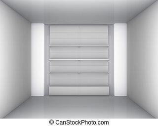 展示物, 内部, 3D, 灰色, 立ちなさい