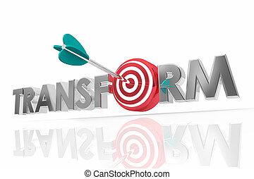 展開させなさい, 単語, ターゲット, render, 変わりなさい, イラスト, 矢, 混乱させなさい, 変化しなさい, 3d