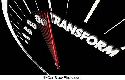 展開させなさい, 単語, 変わりなさい, イラスト, 革新しなさい, 速度計, 変化しなさい, 3d
