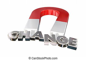 展開させなさい, 考え, イラスト, 磁石, 合わせなさい, 新しい, 引き付けなさい, 変化しなさい, 3d