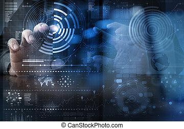 層, ビジネス戦略, 手, デジタル, 効果, 仕事, 概念, 技術, 現代, ビジネスマン