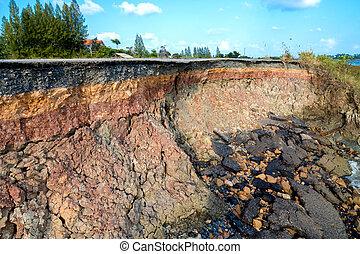 層, 土壌, 示しなさい, rock., 縁, storms., 浸食