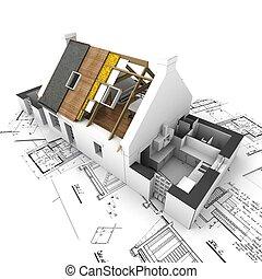 層, 家, 計画, 屋根, さらされた