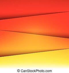 層, 抽象的, 黄色, ペーパー, 背景, オレンジ, 赤