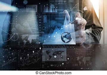 層, 概念, ビジネス, 仕事, 現代, 効果, 手, デジタル, ビジネスマン, 作戦, 技術