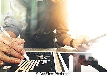 層, 概念, 仕事, タブレット, 木製である, デジタル, 効果, 作戦, ビジネス 電話, コンピュータ, 机, ビジネスマン, 痛みなさい