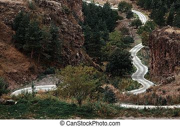 山が多い, 地域, 巻き取り, skoz, 渡ること, georgia., 道