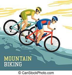 山が自転車に乗る, イラスト