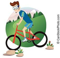 山が自転車に乗る, 人