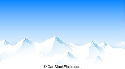 山の景色, ピークに達する, 雪が多い