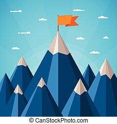 山の景色, ベクトル, 成功, 概念